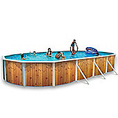 White Coral Wood Effect Oval Steel Pool 9.15m x 4.57m