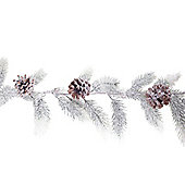 1.8m Realistic Artificial Snow Covered Fir Christmas Garland with Pine Cones