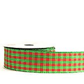 Ribbon Wired Edge - 4.5cm x 10y - Red & Green