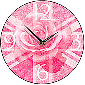 Smith & Taylor Union Jack Rose Round Wall Clock in Pink