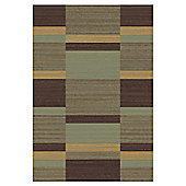 Mastercraft Rugs Mehari Green Brown Block Rug - 133cm x 195cm