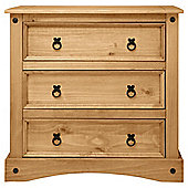 Cordoba 3 Drawer Small Chest, Solid Wood