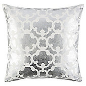 Metallic Lattice Cushion Silver