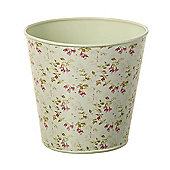 Parlane Lovely Vintage Metal Flower / Plant Pot with Fuschia Detail - 16 x 16cm