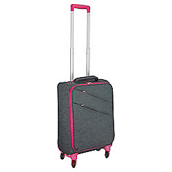 Tesco 4-Wheel Small Grey with Pink Trim Suitcase