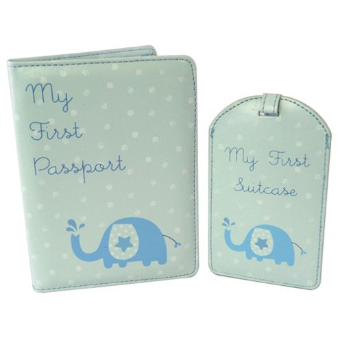 New Baby Boy Passport Holder & Luggage Tag Gift Set
