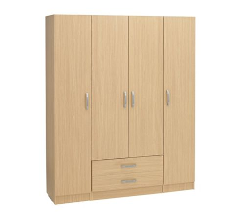 Ideal Furniture Budapest 4 Door Wardrobe - Walnut