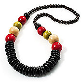 Long Multicoloured Chunky Wood Bead Necklace (Black, Brown, Olive & Red) - 76cm length