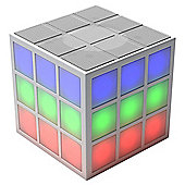 Rubik's Bluetooth Portable LED Rechargeable Cube Speaker with Built-in 360 degree Light Show - White