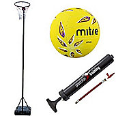 Bee-Ball Adjustable Netball Post Package. Netball Hoop, Size 5 Mitre Attack Netball and Pump