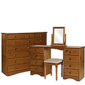 Scandinavian Pine Dressing Table - Stool - Mirror - 6+6 Wide Chest Package