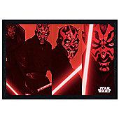 Star Wars Black Wooden Framed Darth Maul Compilation Poster