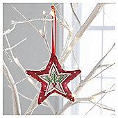 Gisela Graham Fabric Scandi Star Hanging Decoration