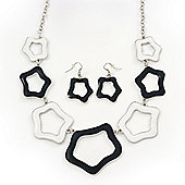 Black/White Enamel 'Star' Necklace & Drop Earrings Set In Silver Plating - 38cm Length/ 6cm Extension