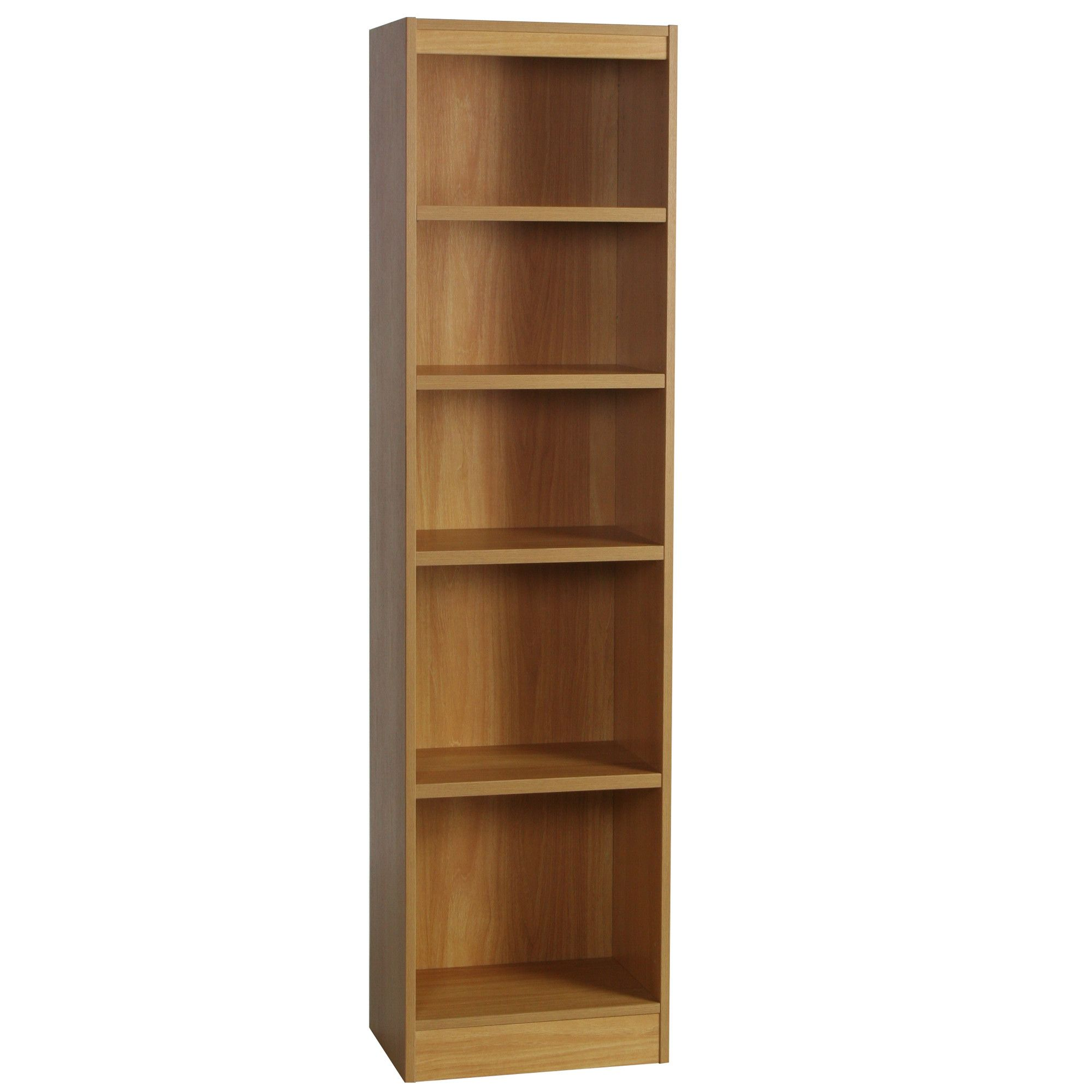 Enduro Five Shelf Tall Narrow Bookcase - Warm Oak at Tesco Direct