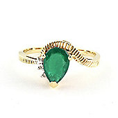 QP Jewellers Diamond & Emerald Belle Diamond Ring in 14K Gold