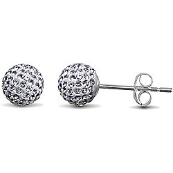 Jewelco London Sterling Silver Crystal 6mm White studs Shamballa Earrings