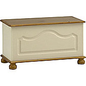 Picadilly - Wooden Top Opening Ottoman / Storage Chest - Cream / Antique Pine