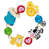 Heimess 735920 Wooden Elasticated Touch Ring Rattle (Safari)