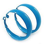 Medium Sky Blue Enamel Hoop Earrings - 45mm Diameter