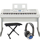 Yamaha DGX650 Keyboard Package in White