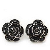 Dark Grey Enamel 'Rose' Stud Earrings In Rhodium Plating - 2cm Diameter