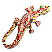 Mosaic Coloured Orange Lizard Garden Ornament