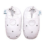 Dotty Fish Soft Leather Baby Shoe - White Stars ideal for Christenings - White