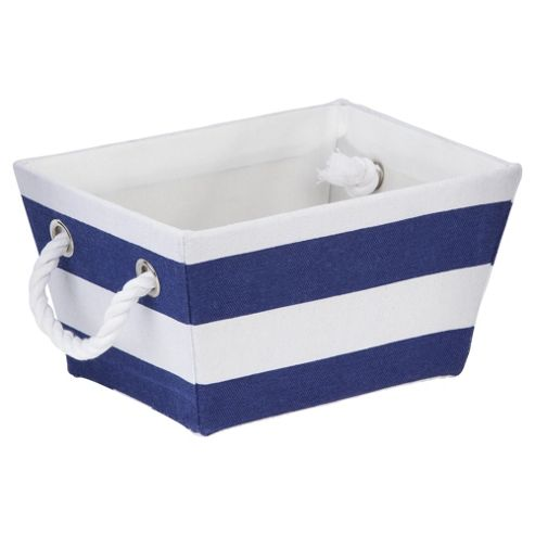 buy tesco blue stripe storage box from our storage baskets. Black Bedroom Furniture Sets. Home Design Ideas