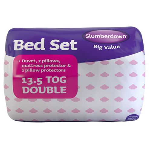 Slumberdown Bed Set: 2 Pillows, 2 Pillow Protectors, 13.5 Tog Duvet and Mattress Protector, Double
