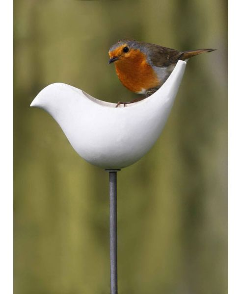 Porcelain bird feeder with a pole