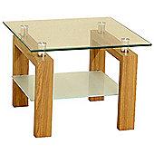 Adina Clear Glass and Oak Effect Lamp Table