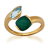 Gemondo Gold Plated Sterling Silver 1.10ct Chalcedony & 0.61ct Topaz Two Stone Ring