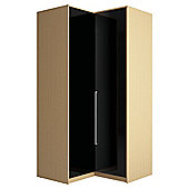 Adria Oak Corner Wardrobe With Black Gloss Doors