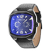 Police Fairplay Mens Leather Day & Date Watch 14191JSB-02