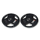 Body Power Rubber Enc Tri Grip STANDARD Weight Disc Plates - 25Kg (x2)