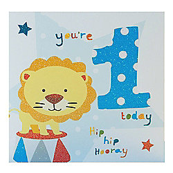 Blue Fizz Boys 1st Birthday Card