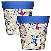 2 x 22cm Blue Birds & Branches Plastic Garden Planter 5L Flowerpot by Hum