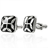 Urban Male Two Colour Stainless Steel Leaf Design Cufflinks