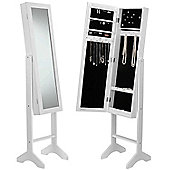 Beautify Floor Standing Mirror and Jewellery Organiser - White