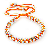 Plaited Neon Orange Silk Cord With Silver Tone Bead Friendship Bracelet - Adjustable