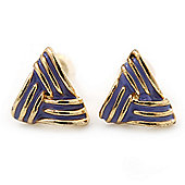 Children's/ Teen's / Kid's Small Purple Enamel 'Triangular' Stud Earrings In Gold Plating - 10mm Length