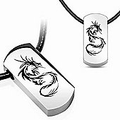 Urban Male Contemporary Men's Stainless Steel Dragon Ingot Pendant & Leather Chain