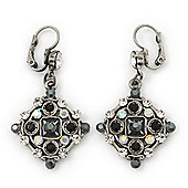 Vintage Inspired Black, Clear Crystal Square Drop Earrings In Burn Silver Tone With Leverback Closure - 50mm Length