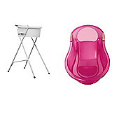 Tippitoes Bath Bundle - Mini Bath Stand & Mini Bath Pink 2 Items