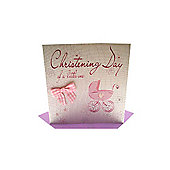 Bliss Pink Pram Christening Card