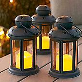 Set of 3 Grey Battery LED Candle Lanterns