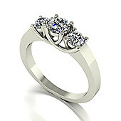 18ct White Gold 3 Stone Lucern Setting Moissanite Ring.
