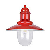 Ukai Fishermans 60W Vintage Style Electric Ceiling Pendant Shade in Gloss Red