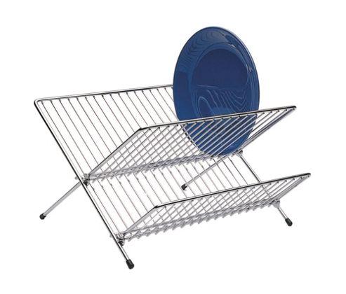 KitchenCraft Large Fold Away Dish Drainer in Chrome - Medium